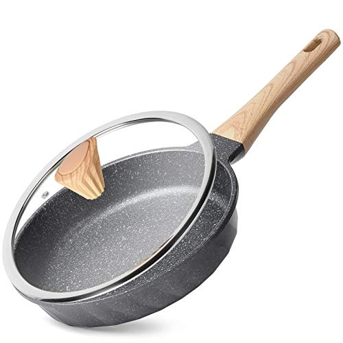 bf electric skillets YIIFEEO Nonstick Frying Pan with Lid, Marble Stone Nonstick Pan with Soft Touch Handle, Induction Compatible(9.5inch)