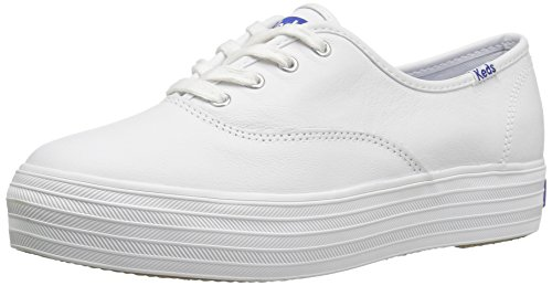Keds Damen Triple Leather Laufschuhe, Weiß(White), 41 EU