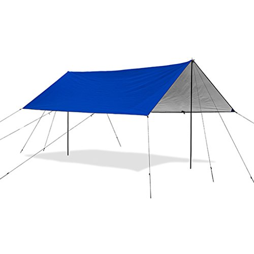 FFF8 Large Awning Tent Outdoor Multiplayer Beach Awning Beach Sunscreen Shelter Rain Canopy Camping Awning Car Cloth (Color : BLUE, Size : 140CM(55.1 INCHES))