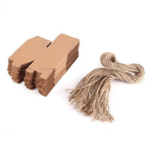 50 cajas de dulces 50 piezas de cuerdas de cáñamo doblado retro papel kraft caja cuadrada pequeña para entrega con cordel para bodas cajas de dulces caja de regalo especial para festivales o e