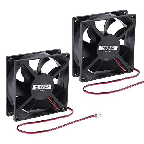 eROOSI Ventilador de enfriamiento DC12V 80x80x25mm Ventilador de enfriamiento sin escobillas de 2 pines para enfriar la CPU de la computadora