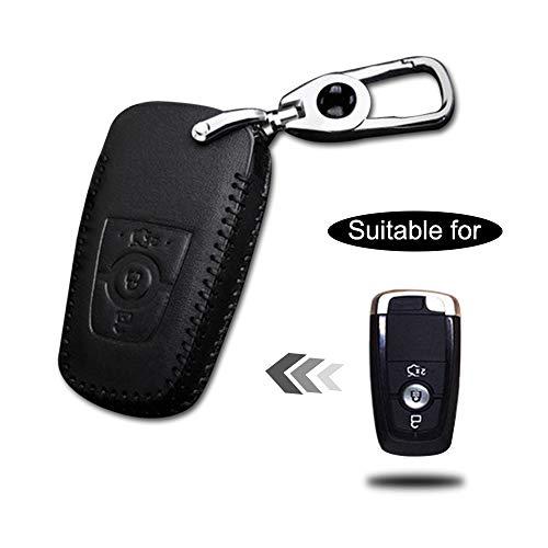 Schlüssel Hülle Leder Auto Schlüsseltasche mit schlüsselanhänger für 3-Tasten Keyless Go Fernbedienung Autoschlüssel Schwarz Nähen 1 Stück Modell H