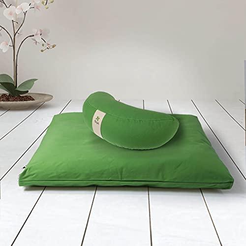 ZAFUKI Kit meditación Zafu + Zabutón Verde/Cojín Yoga, Media Luna DESENFUNDABLE + Estera meditación