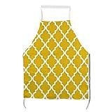Delantal amarillo mostaza patrón marroquí para hombre y mujer para cocinar, barbacoa y hornear con bolsillos