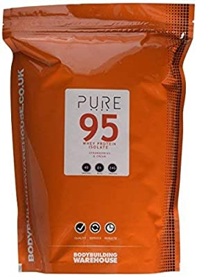 Bodybuilding Warehouse Pure Whey Protein Isolate 95 (Strawberries and Cream, 1kg)