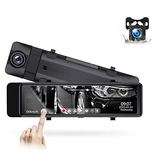 LFJG Dash Cams para Coches Delanteros Y Traseros, Cámara De Salpicadero Full HD De 14 Pulgadas, Grabación En Bucle, Detección De Colisiones, Monitor De Aparcamiento,Front 2k + Rear 1080p