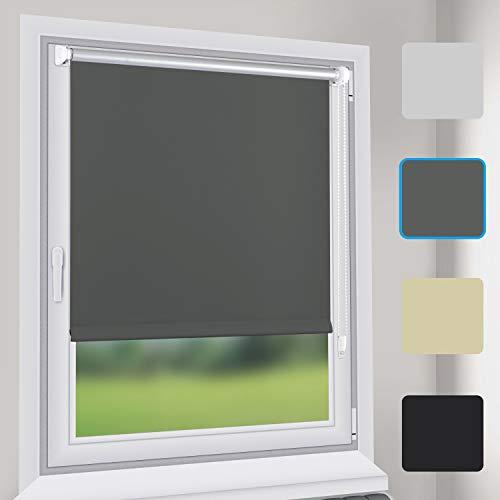 Sekey Verdunkelungsrollo Rollos - Verdunkelungsrollo Klemmfix ohne Bohren - 105cm x 130cm - Rollos für Fenster und Tür - Sonnenschutz - Grau