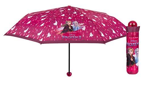 POS 32238 - Taschenschirm mit Disney Frozen II Motiv, Regenschirm für Mädchen, Durchmesser 100 cm, mit automatischer Öffnung, Fiberglasgestell, windfest