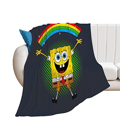 Manta de Bob Esponja para siesta, sofá, oficina, 152 x 200 cm, regalo de cumpleaños para niños