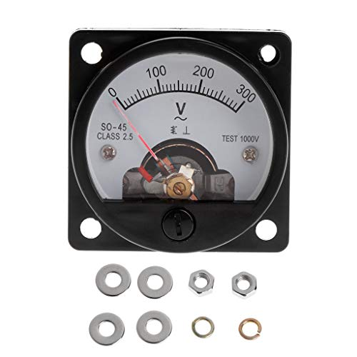 A0127 Voltmeter SO-45 AC 0-300V Round Analog Dial Panel Messgerät Voltmeter Messgerät Schwarz
