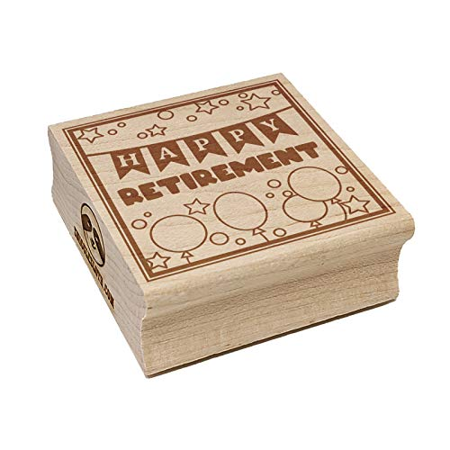 Happy Retirement Stars and Balloons Square Rubber Stamp for Stamping Crafting - 2.75in Large