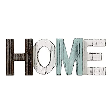TIMEYARD Wooden Home Sign - Decorative Cutout Wood Words - Rustic Home Decor - Multicolor, Distressed, Freestanding, Displays Beautifully on Book Shelf, Mantel, Centerpiece, Table, Desk, etc.