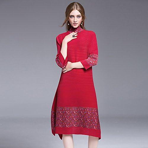 JIALELE Tous Les Jours des Femmes Sortir Vintage Robe Longueur Genou lache, Stand Floral Manches 3 4
