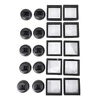Jarhit コインのディスプレイボックス - 10個のセット3Dフローティングフレーム ディスプレイホルダー スタンド付き 挑戦コイン、AAメダリオン、ジュエリー、ブラック、2.75 x 2.75 x 0.75インチ