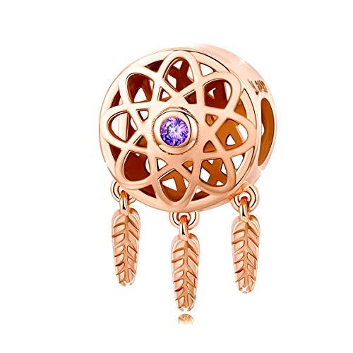 Abalorio atrapasueños de plata de ley 925 bañado en oro rosa con colgante de flor compatible con pulsera Pandora
