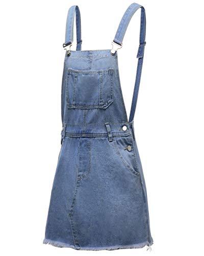 GUOCU Falda de Vaquera Retro Desgastados para Mujer Correa Ajustable Mezclilla Vestido Corto Falda Corta Casual Peto Monos Azul Claro L