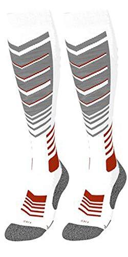 Crivit Pro Damen Skisocken Ski funktionstrümpfe Winter Socken 39-40 Grau Rot Weiß Polster an Zehen, Ferse, Achillessehne, Wade, Schienbein, RIST und Knöchel