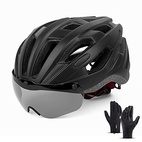 HVW Casco de Bicicleta, Casco de Bicicleta especializado Ultraligero con Gafas Desmontables y Guantes de Ciclismo Tamaño Ajustable 22-24 en Cascos Cascos Unisex,Azul