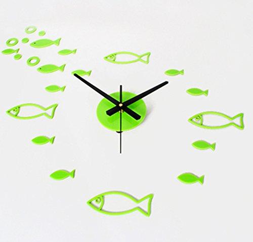CivilWeaEU- Bricolage Cristal Trois Petits Poissons Pendaison Bell Horloge Combinaison de Plaisir Créative Salle de Séjour Pendaison Montre (Couleur : Vert)