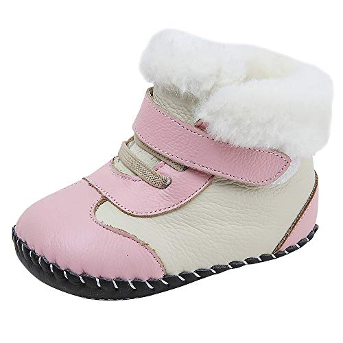 Baby Genuine Leather Winter Warm Snow Boots Soft Bottom Non-Slip Shoes for Boys Girls 0-18Months (12.5cm(12-18months), Pink)