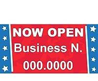 ハーフプライスバナー   カスタムビジネスビニールバナー - インドア/アウトドア2 x 4 フィートスター  ジップタイ付き   簡単吊り下げサイン - アメリカ製
