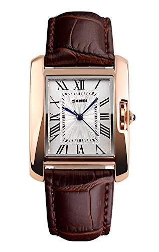 Fanmis Womens Watches Rose Gold Case Roman Numeral Luxury Wristwatch Square Brown Leather Strap Watch (Brown)