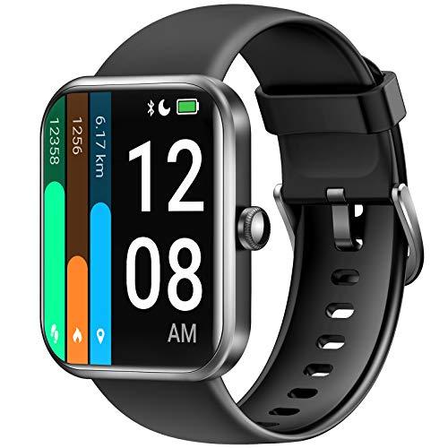 LETSCOM Smartwatch für Damen Herren, 1.69 Zoll Fitness Armbanduhr mit Schrittzähler, Pulsuhr und Blutsauerstoffsättigung, 5ATM wasserdichte Sportuhr Smart Watch mit Alexa-Integration Schwarz