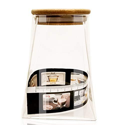 Tarro de cristal para almacenamiento de alimentos, jarrón decorativo con boca extra ancha con tapa de madera para dulces, galletas, arroz, especias, té, cocina y despensa organizador (350 ml)