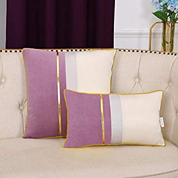 EECCA Gold Leather Striped Patchwork Velvet Cushion Case Luxury Modern Square Throw Pillow Cover Decorative Pillow for Bedroom Living Room Cushion Cases Bed Sofa,Purple,20x20 Inches