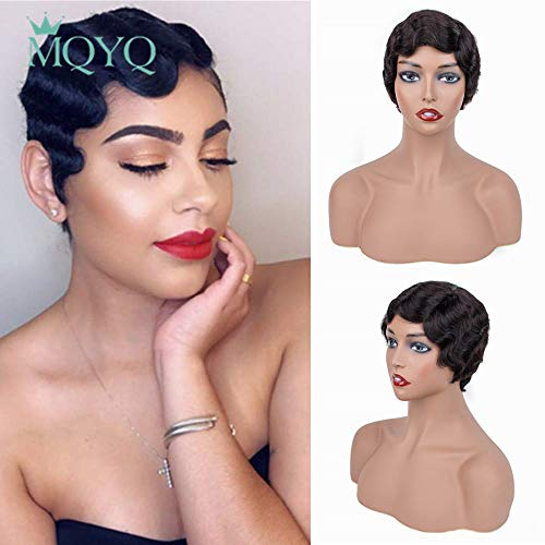 MQYQ Finger Wave Wigs 100% Human Hair Mommy Wigs Brazilian Virgin Short Pixie Cut wigs Ocean Wave Wig Fashion Style Natural Color