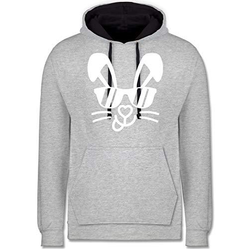 Shirtracer Ostern - Hase mit Sonnenbrille - weiß - L - Grau meliert/Navy Blau - Hase - JH003 - Hoodie zweifarbig und Kapuzenpullover für Herren und Damen