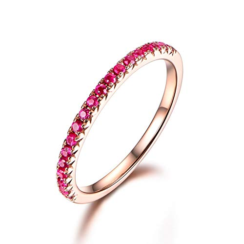 MF.CHAMA 18K Rose Gold Women Wedding Rings Gold, 0.25ct Ruby Ring Round Brilliant Shape Size H 1/2