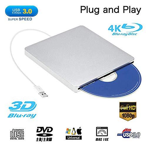 External Blu ray DVD Drive,Ploveyy USB 3.0 Ultra Slim 3D 4K External Blu Ray Player Writer Portable...