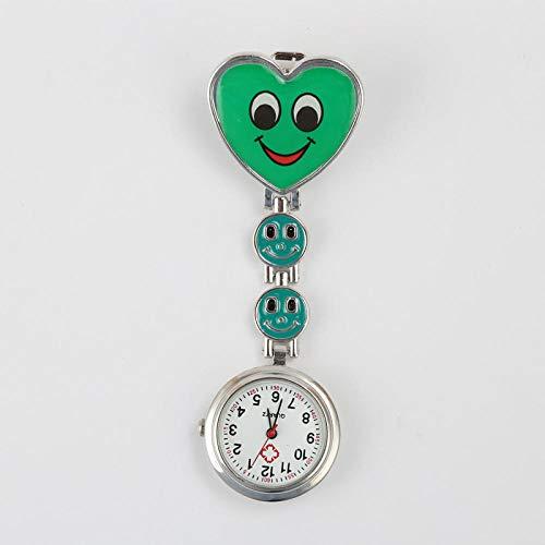 Cxypeng Pulsuhr Krankenschwester,Klassische Pfirsichherz-Smiley-Krankenschwesteruhr, Geschenkuhr-Quarzuhr-Grün,Taschenuhr Krankenschwestern Uhr