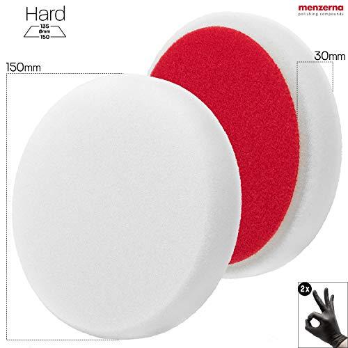 detailmate Set Polierschwamm Menzerna Hard Cut Pad Standart White - 150 mm - P150H - für Schleifpolituren + 2 Schutzhandschuhe
