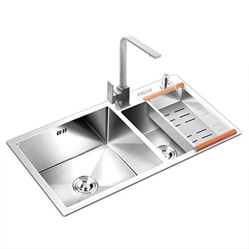 Great Deal! High Capacity Kitchen Sink Stainless Steel, 750mm X 410mm 2 Bowl 60/40 Top Mount Water T...