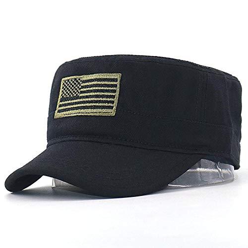 Cap Us Flag Bordado Gorra de béisbol Algodón Snapback Ajustable Sombrero Hombres Mujeres Moda Sombreros Deportivos Planos Venta al por Mayor Negro