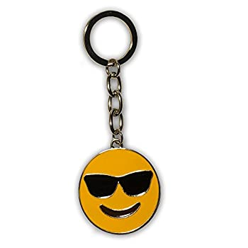 Emoji Key Chain – Everything Emoji Cool Sunglasses Keychain – Premium Quality Small Key Charms for Teenager Backpack – Cute Cool Sunglasses Emoji Ring – Emoticon Backpack Clips for Kids – Unique Gift