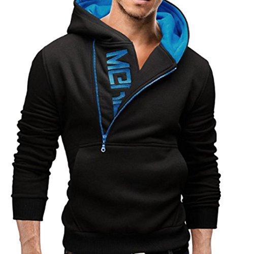 HOT ! Ninasill Mens Autumn And Winter Long Sleeve Hoodie Hooded Sweatshirt Tops Jacket Coat Outwear (XXL, Blue)