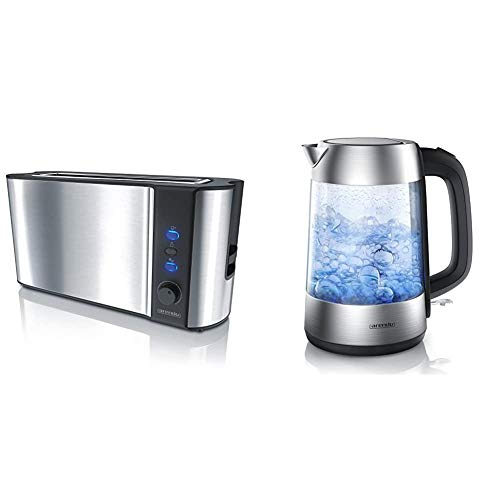Arendo - Automatik Toaster Langschlitz - mit Defrost Funktion - wärmeisolierendes Doppelwandgehäuse & Premium Edelstahl Glas Wasserkocher inkl. LED-Innenbeleuchtung