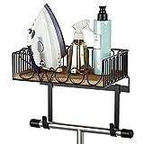 SRIWATANA Ironing Board Hanger Wall Mount, Iron and Ironing Board Holder for Laundry Room with Large Storage Wooden Base - Carbonized Black