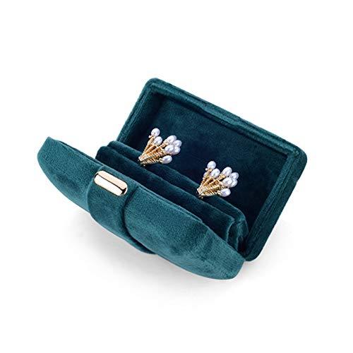 Joyero con tapa de vidrio Exquisito Pequeño terciopelo de terciopelo Caja de almacenamiento de caja de almacenamiento Pendientes de anillo Contador de joyería Pantalla Buzón de regalo Joyero de madera