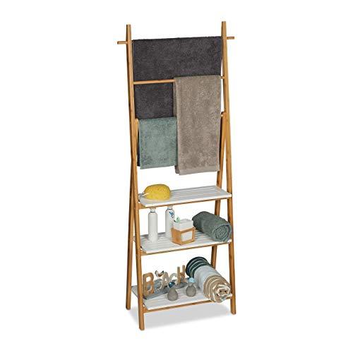 relaxdays Échelle Porte-serviettes, 3 barres, surface rangement, étagère, bambou, MDF, 150x50x30cm, nature blanc, 150 x 50 x 30 cm