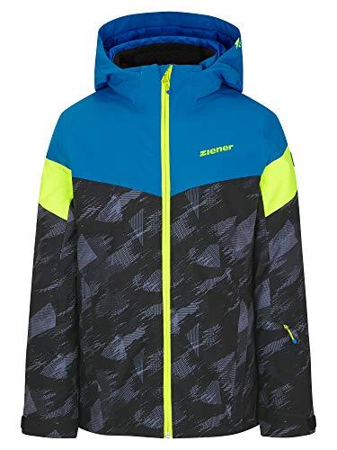 Ziener Jungen ATLA Junior Kinder Skijacke, Winterjacke | Wasserdicht, Winddicht, Warm, Black Mountain camo, 128