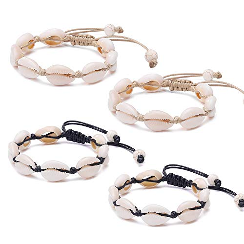 4 Pack Adjustable Shell Bracelets Anklets Set Natural Cowrie Shell Beads Puka Seashells Ankle Jewelry for Men Women