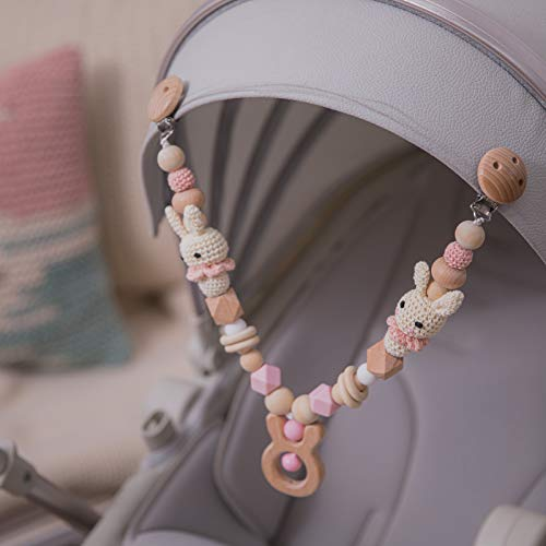 Mamimami Home 1pc Pram Toy Baby Stroller Chain Stroller Toy Pram Toys for Newborn Pram Clip Baby Teething Toy Bunny Stroller Chain