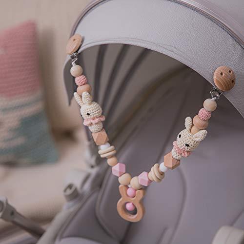 Mamimami Home 1pc Babyspielzeug aus Holz Kaninchenkopf Kinderwagenkette Clip auf Kinderwagen Neugeborenen Beißring Spielzeug