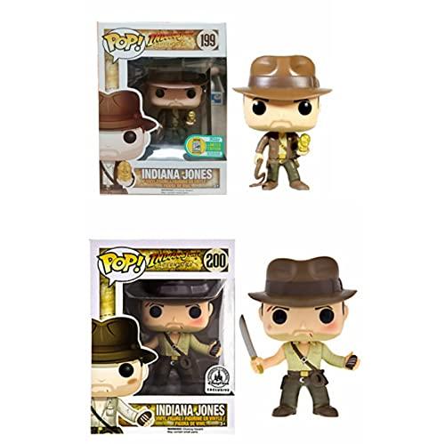 Funko Pop 2Pcs / Raiders of The Lost Ark Kawaii Q Versión Figura De Anime Indiana Jones Figuras De Acción De Vinilo Pop En Caja Juguete 10Cm, Colección De Decoración De Juguetes para Niños