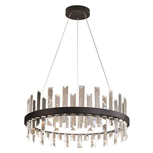 Kristallleuchte LED Dimmbar Esstisch Pendelleuchte, Schwarz Esszimmerlampe, Metall Hängeleuchte, Decke Kristall Pendellampe mit Kristall Anhänger Esszimmer Lampe, mit Fernbedienung Kronleuchter Ø60 cm