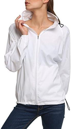 Zeagoo Casual Womens Jackets Lightweight Packable Hooded Windbreaker Waterproof Rain Jacket